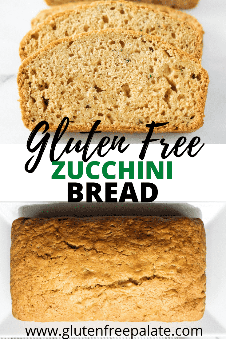 a collage of two photos of gluten free zucchini bread