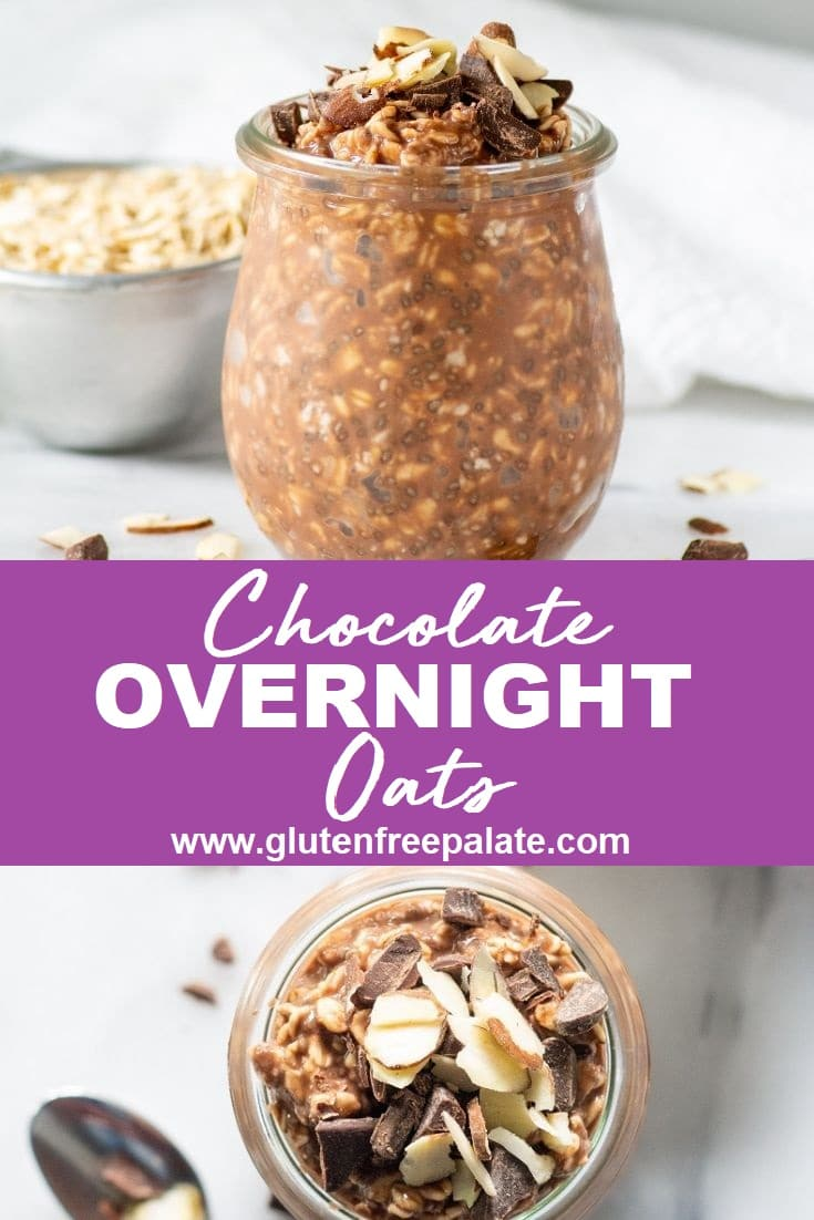chocolate overnight oats in a glass jar on the top, the words chocolate overnight oats in the center, with a top down view of chocolate oats in a jar on the bottom