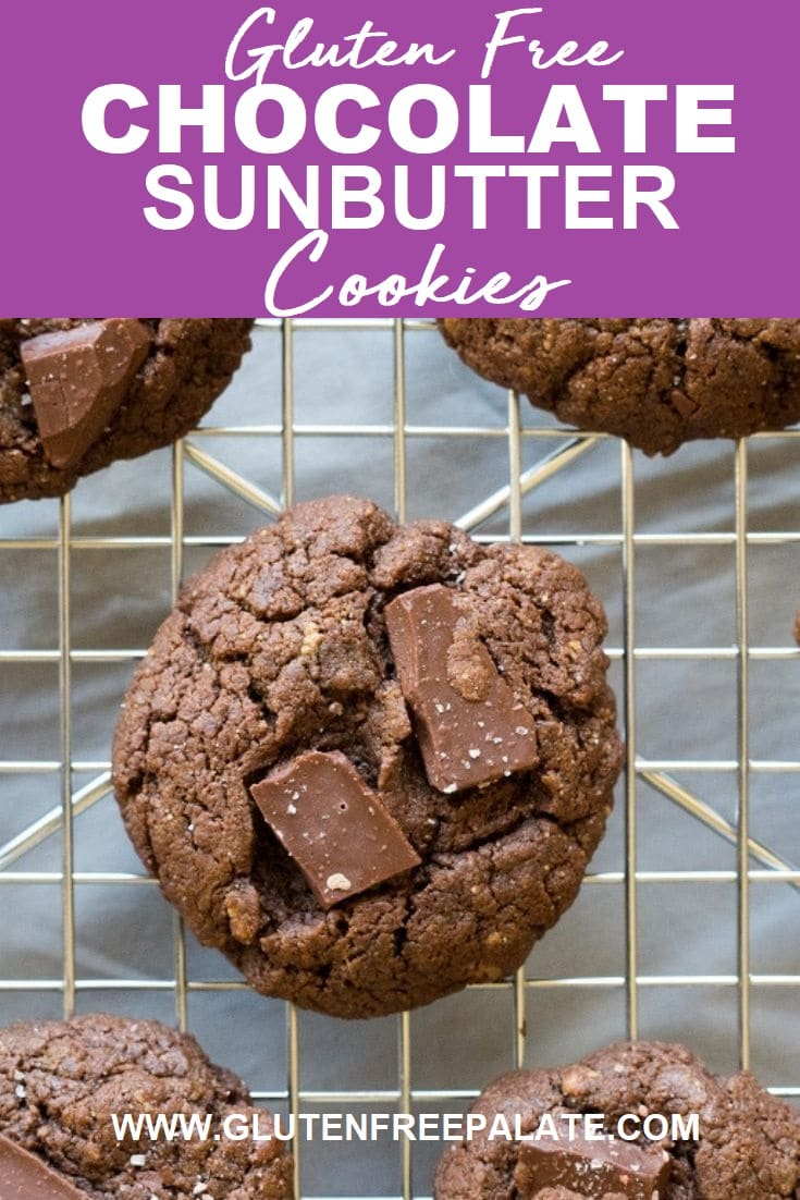 roundsunbutter cookies with chocolate chunks on a wire rack with the words gluten free chocolate sunbuter cookeis written at the top