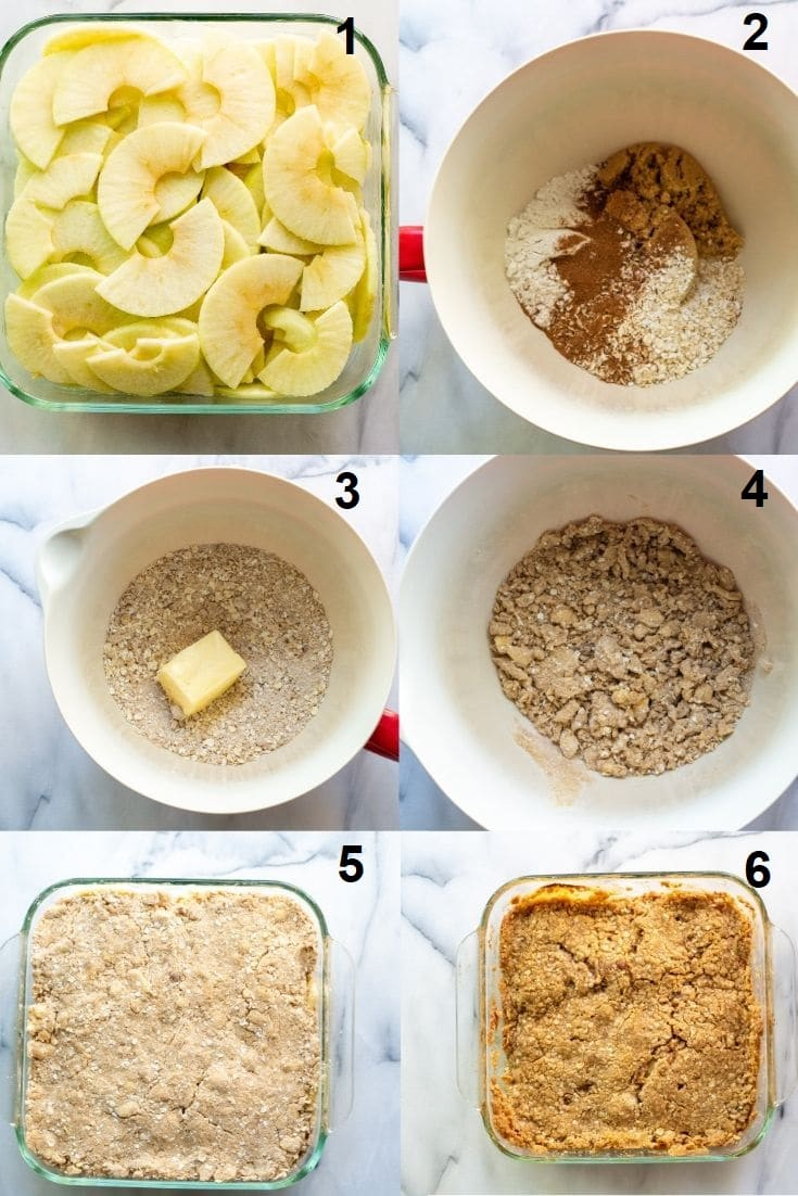 a collage of six numbered steps showing how to make gluten free apple crisp, the numbered photos match the numbered steps below
