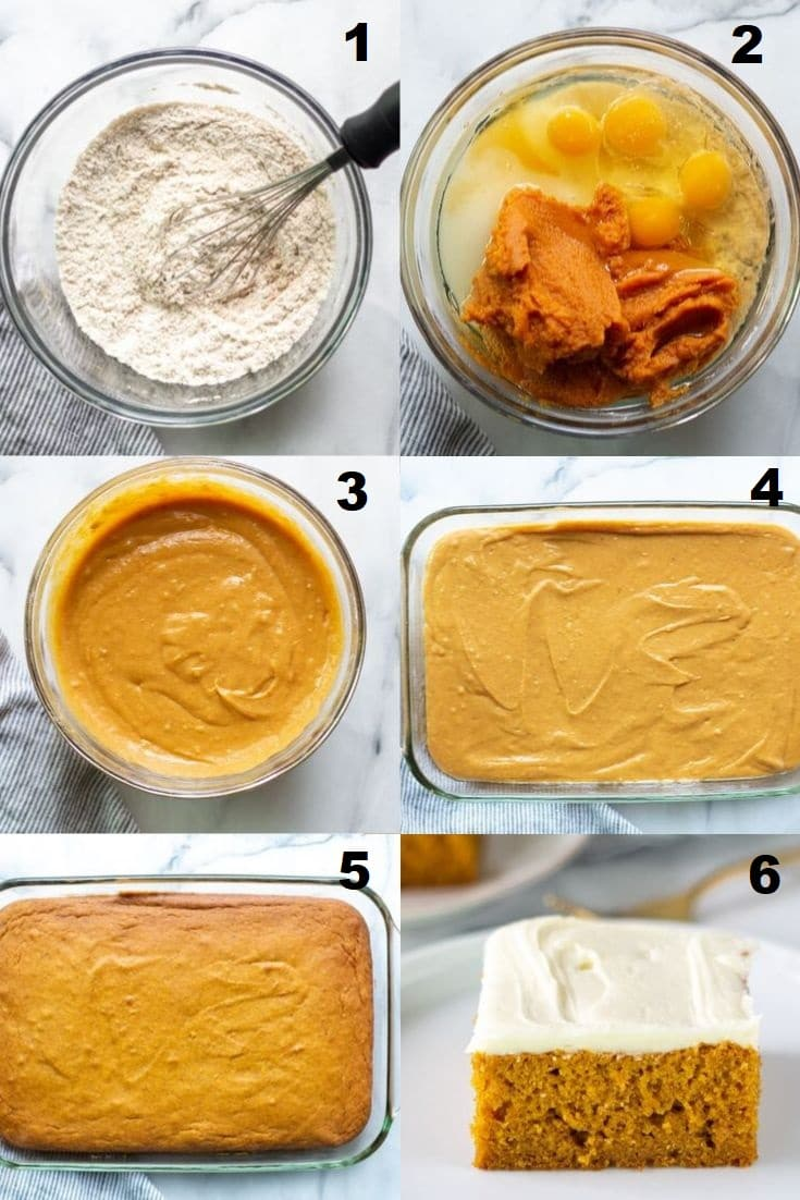 a collage of six numbered photos showing the steps how to make gluten free pumpkin cake, each numbered photo matches the numbered steps below