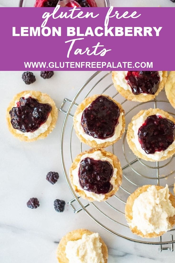 blackberry lemon tarts on a wire cooling rack, the words gluten free lemon blackberry tarts on the top