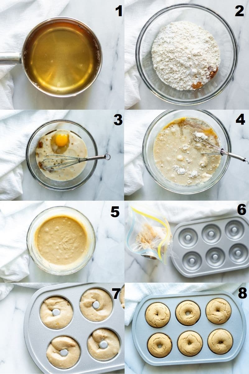 a collage of eight numbered photos showing the steps how to make Gluten Free Apple Cider Donuts, the numbered photos match the numbered text below