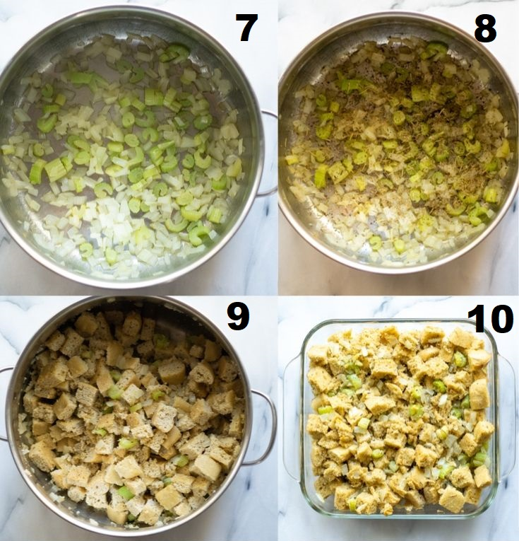 a collage of the next four steps showing how to make paleo stuffing, the numbered photos match the numbered text steps above