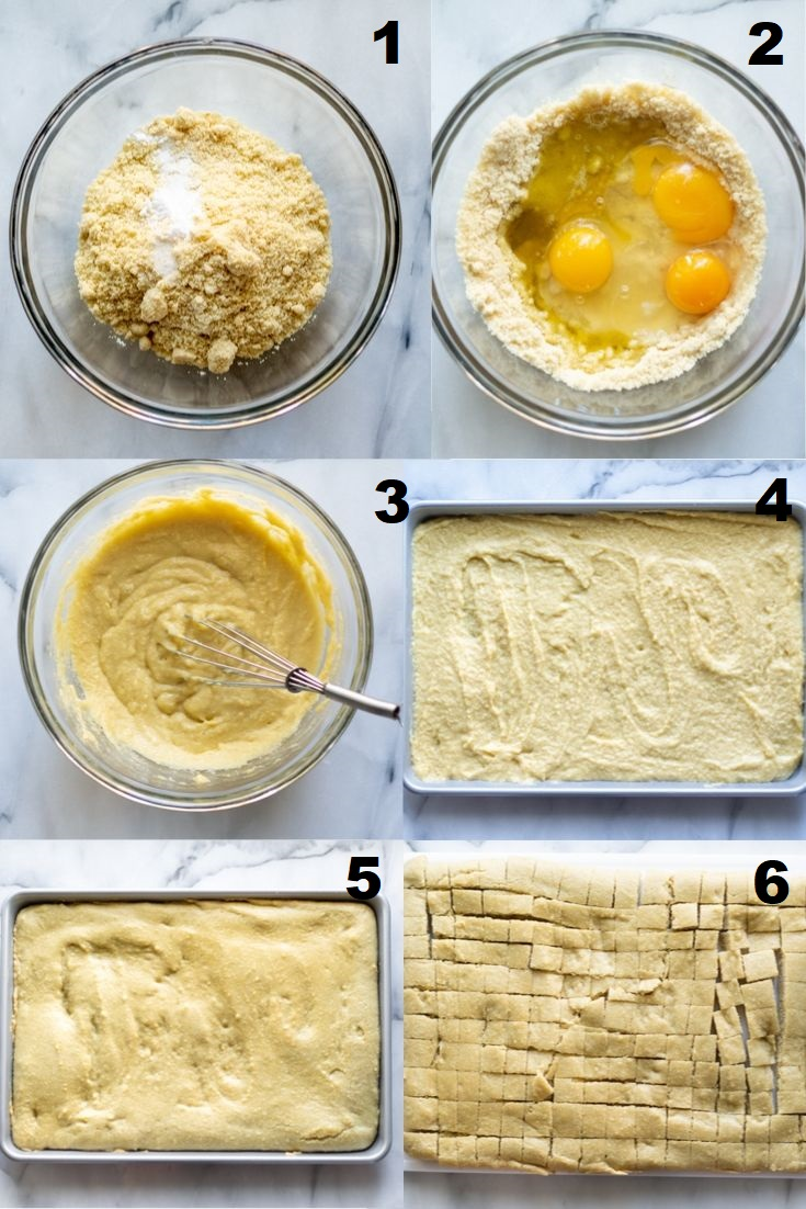 a collage of the first six steps showing how to make paleo stuffing, the numbered photos match the numbered text steps below