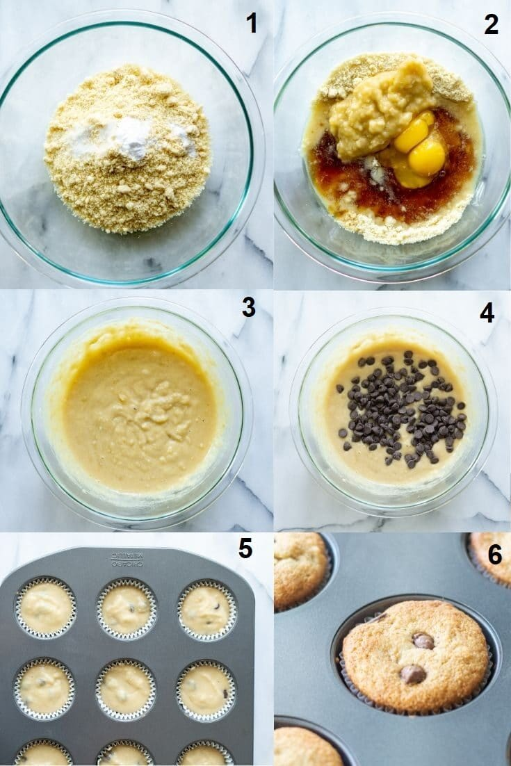 a collage of six numbered photos showing how to make paleo banana muffins, each numbered image matches the numbered steps written below