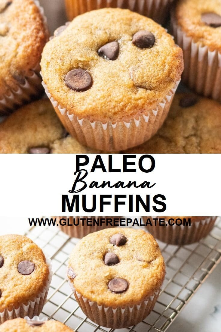 collage of two images, one with a muffin with chocolate chips, on with a muffin on a cooling rack with the words paleo banan muffins written in the center