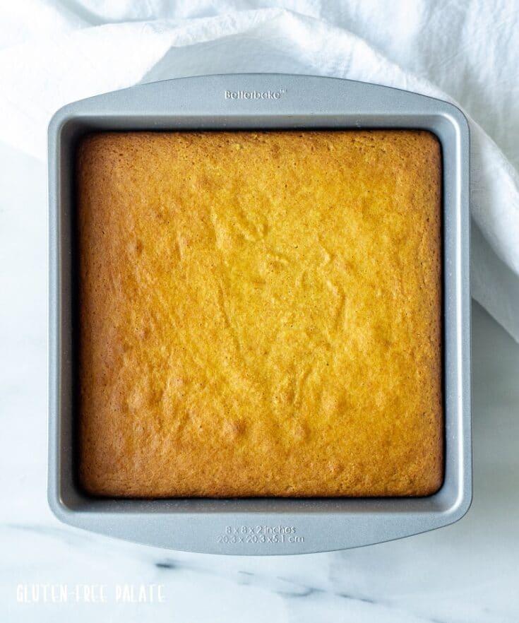 a metal pan of yellow paleo cornbread