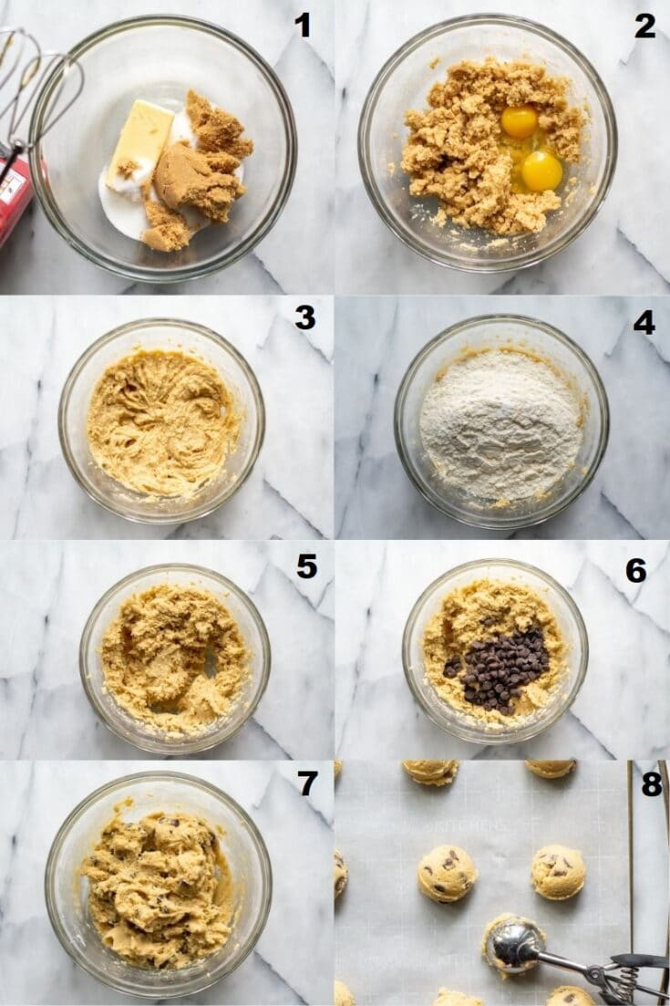 a collage of eight numbered photos showing how to make gluten free chocolate chips cookie, the numbers match the steps written in text below the image