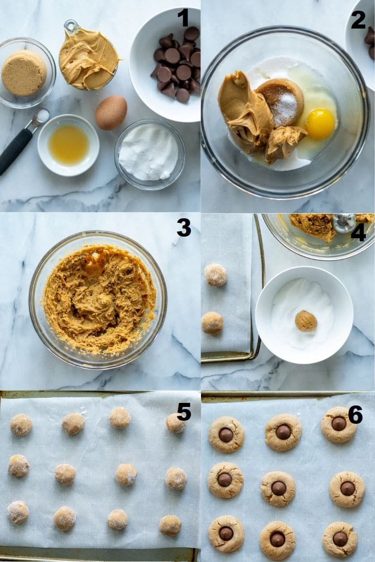 collage photos of six steps showing how to make Gluten Free Peanut Butter Blossoms that match the numbered steps written below