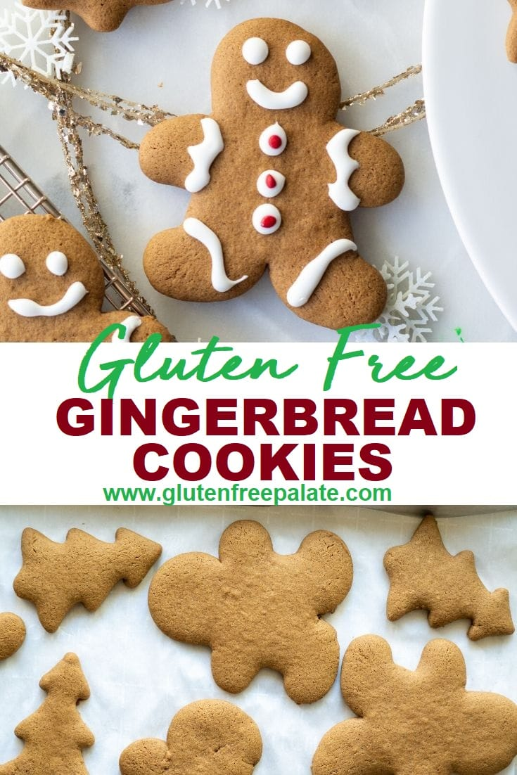 image collage of a gingerbread man decorated with icing with the words gluten free gingerbread cookies then undecroted gingerbread men cookies