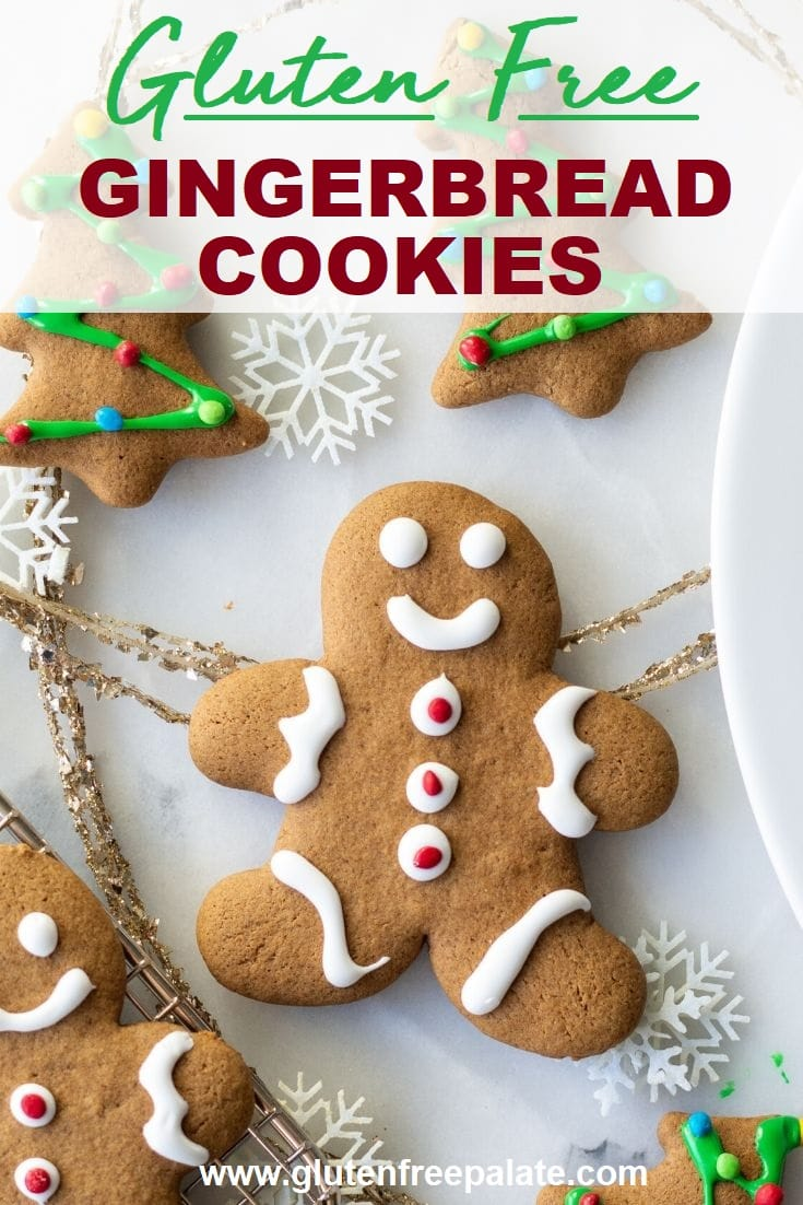 a decorated gingerbread men with white icing with the text overlay gluten free gingerbread cookies
