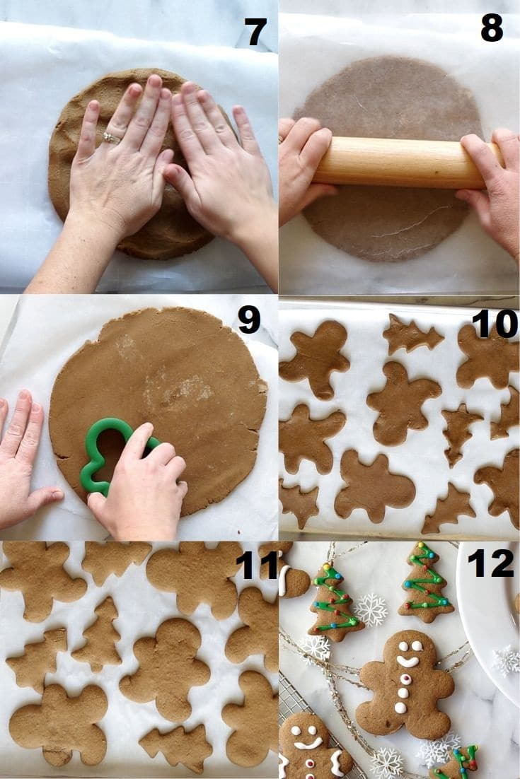 collage of steps seven through twelve showing how to make gluten free gingerbread cookies that match the numbered steps below the image