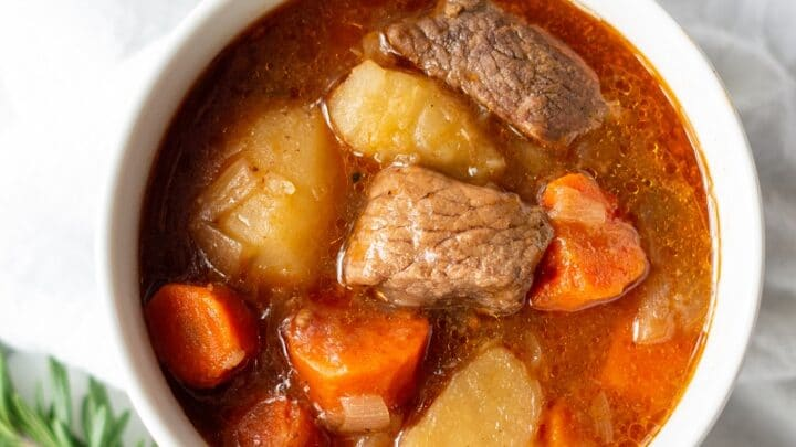 gluten free beef stew in a white bowl