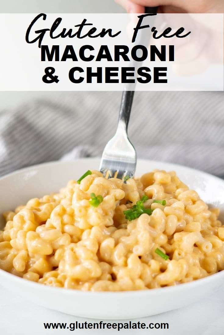 a fork in mac in cheese in a white bowl with the text overlay gluten free macaroni and cheese