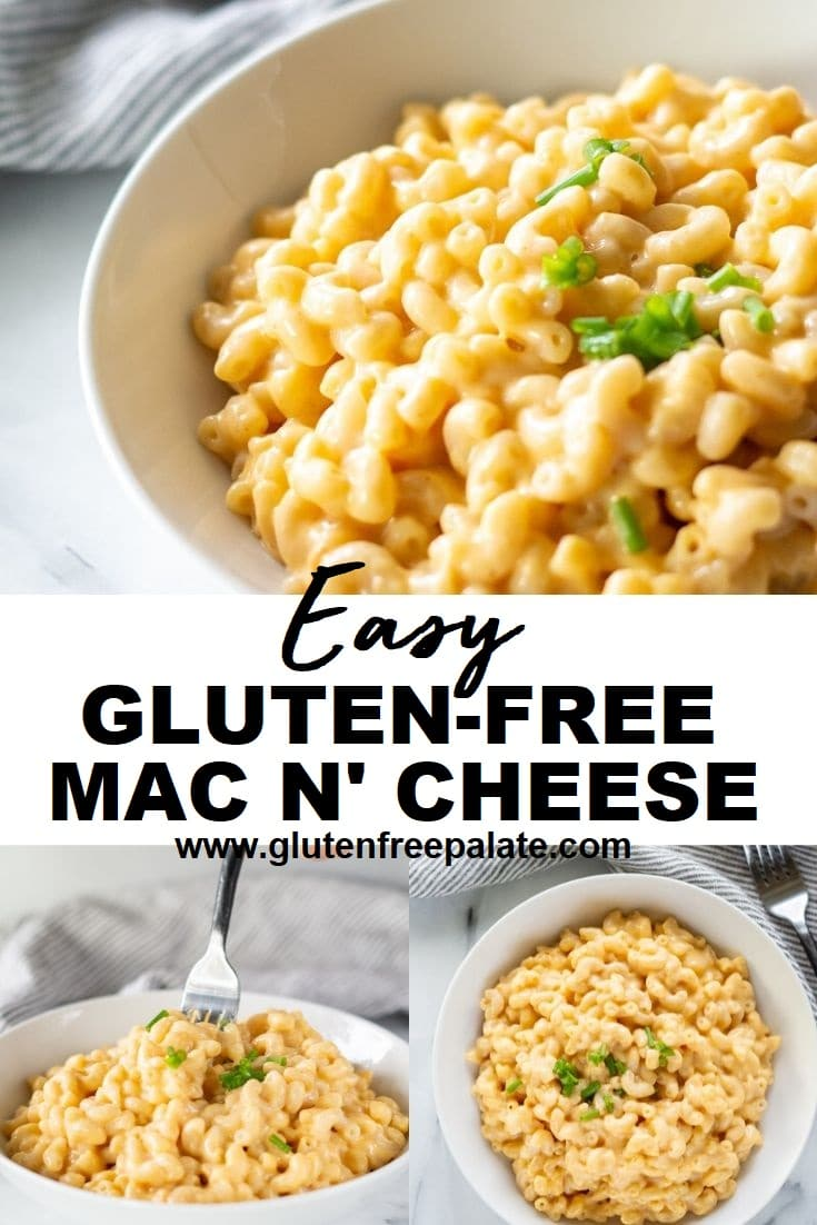 a photo collage of three images of yellow mac and cheese with chopped green onions with the words easy gluten free mac and cheese in the center