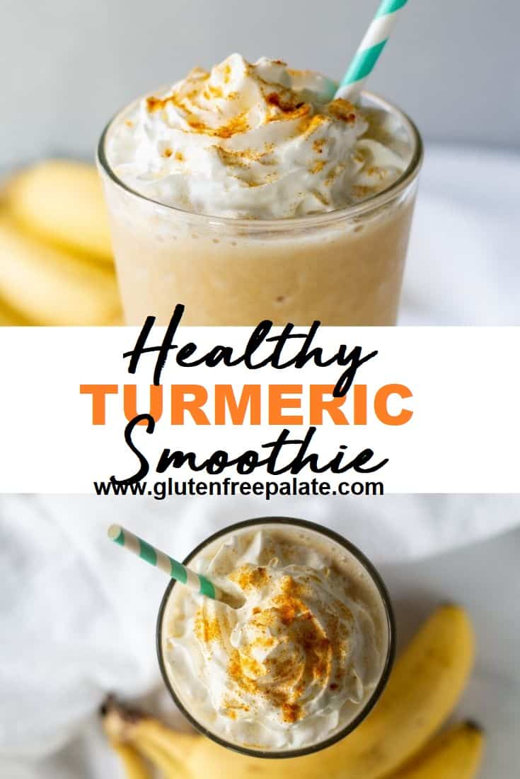 collage of two images of yellow smoothie with whipped cream on top with the words healthy turmeric smoothi written in the center