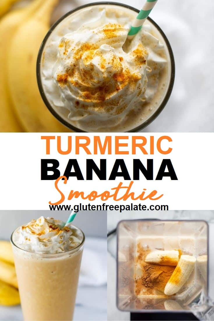 three images of turmeric smoothie in a collage with turmeric banana smoothie in the center