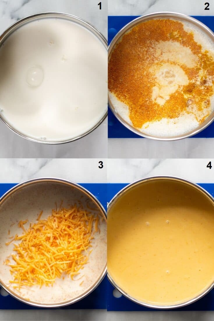 a collage of four images showing how to make gluten free macaroni and cheese that match the numbered steps below