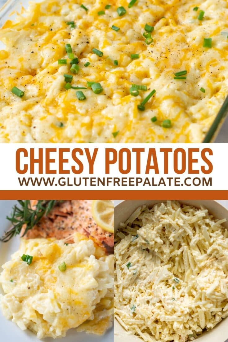 Three images of cheese potatoes with the words cheesy potatoes written in the center