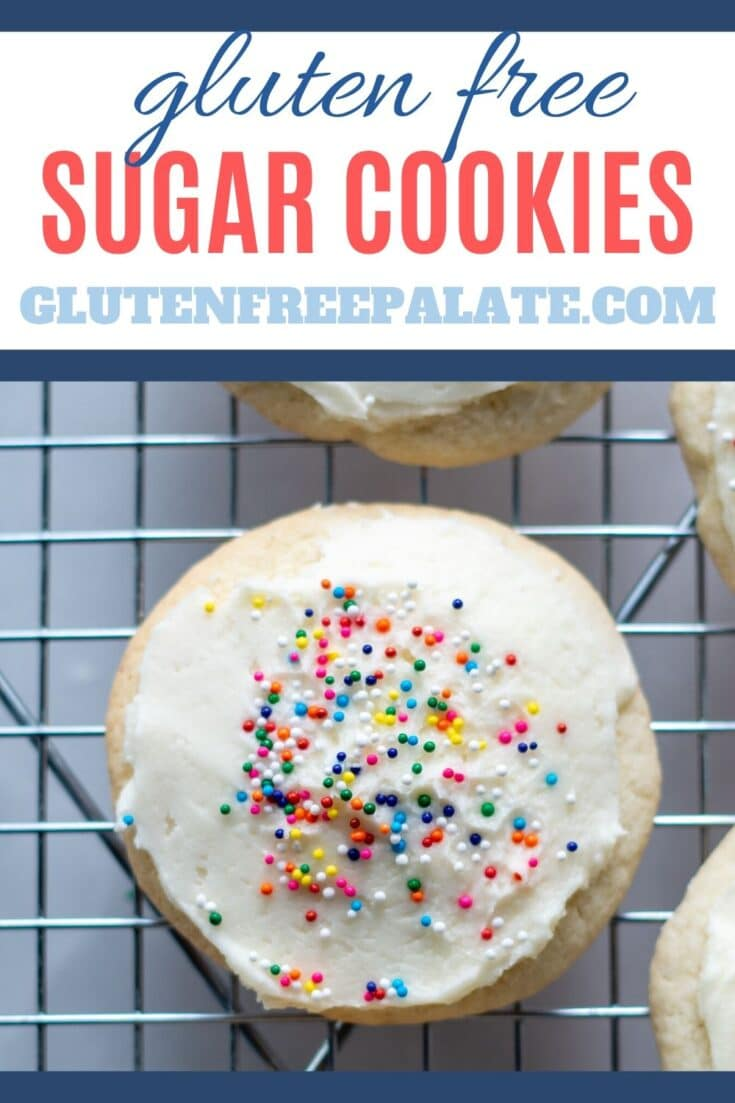 a round cookie with white frosting and colored sprinkles on a cooling rack with the words gluten free sugar cookies