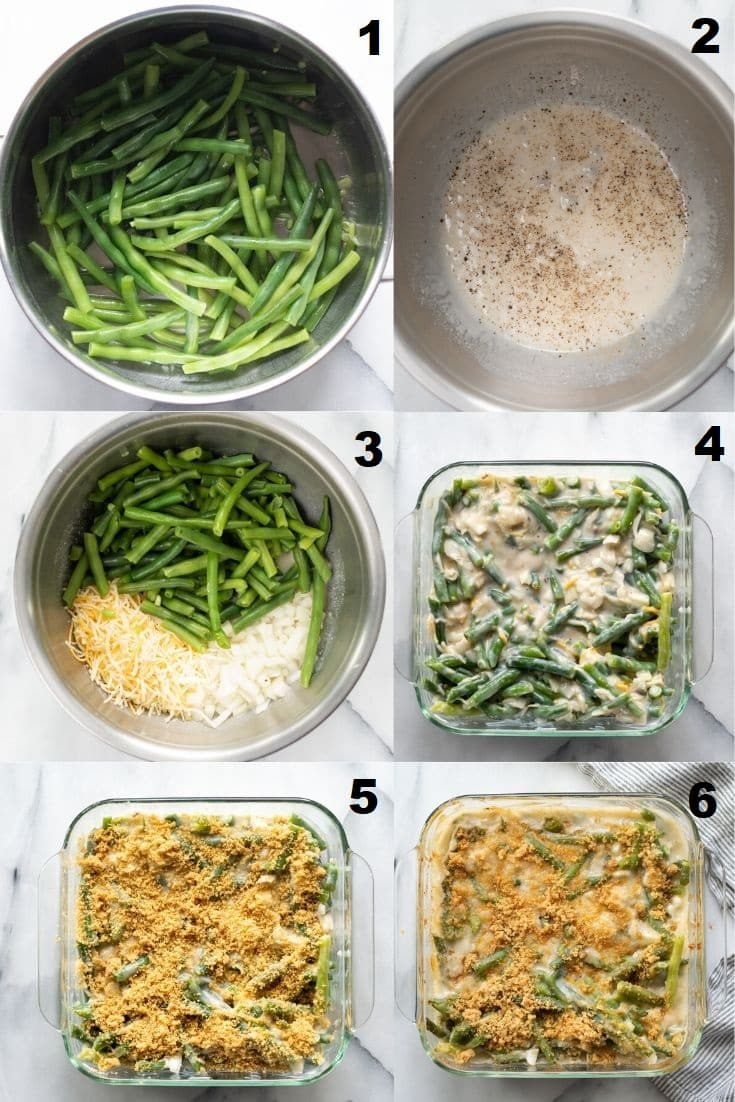 six numbered images showing the steps to Make Gluten Free Green Bean Casserole