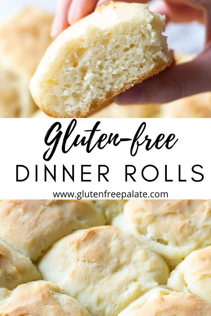 a collage image with a hand holding a roll on top, the text gluten free dinner rolls in the center, and a close up of a pan of rolls on the bottom