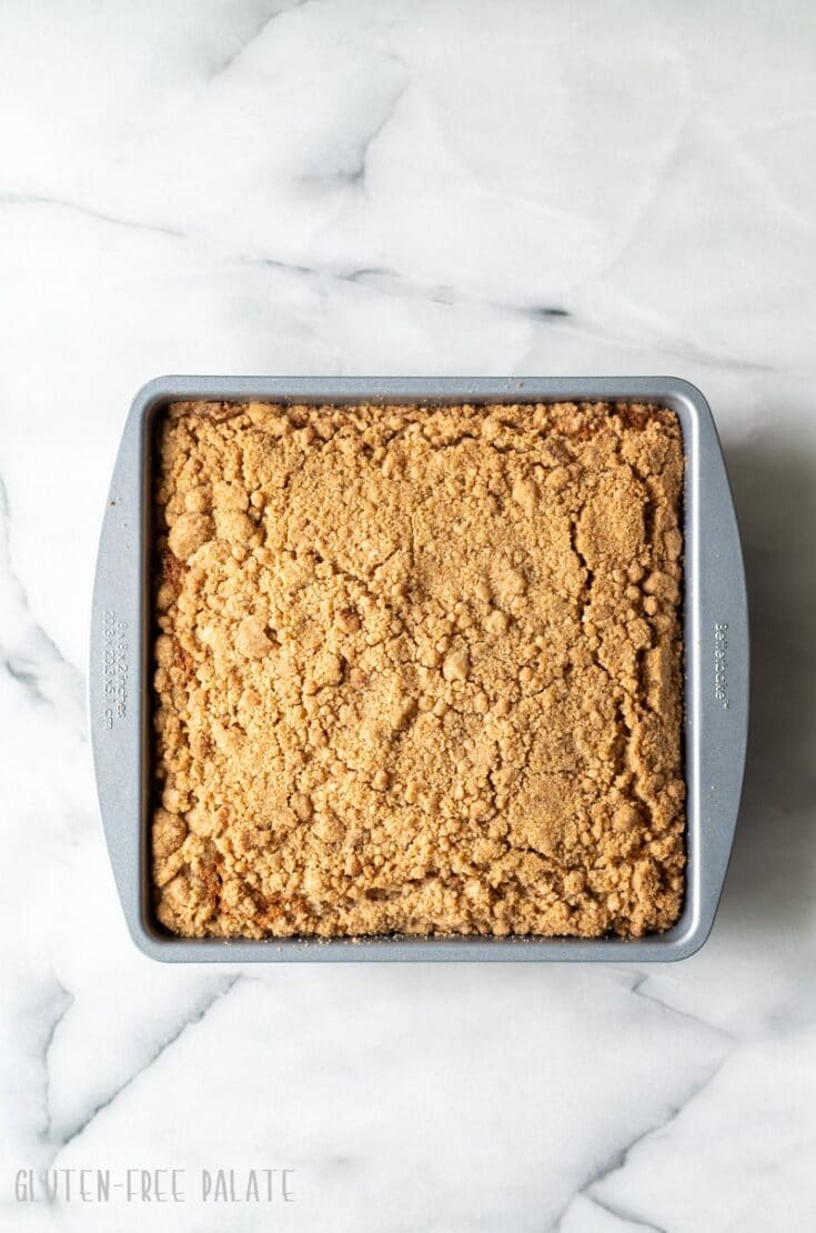 gluten free coffee cake in a metal square pan