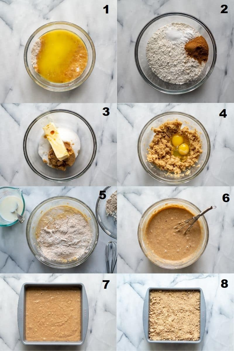 a collatge of eight photos showing the steps to make gluten free coffee cake