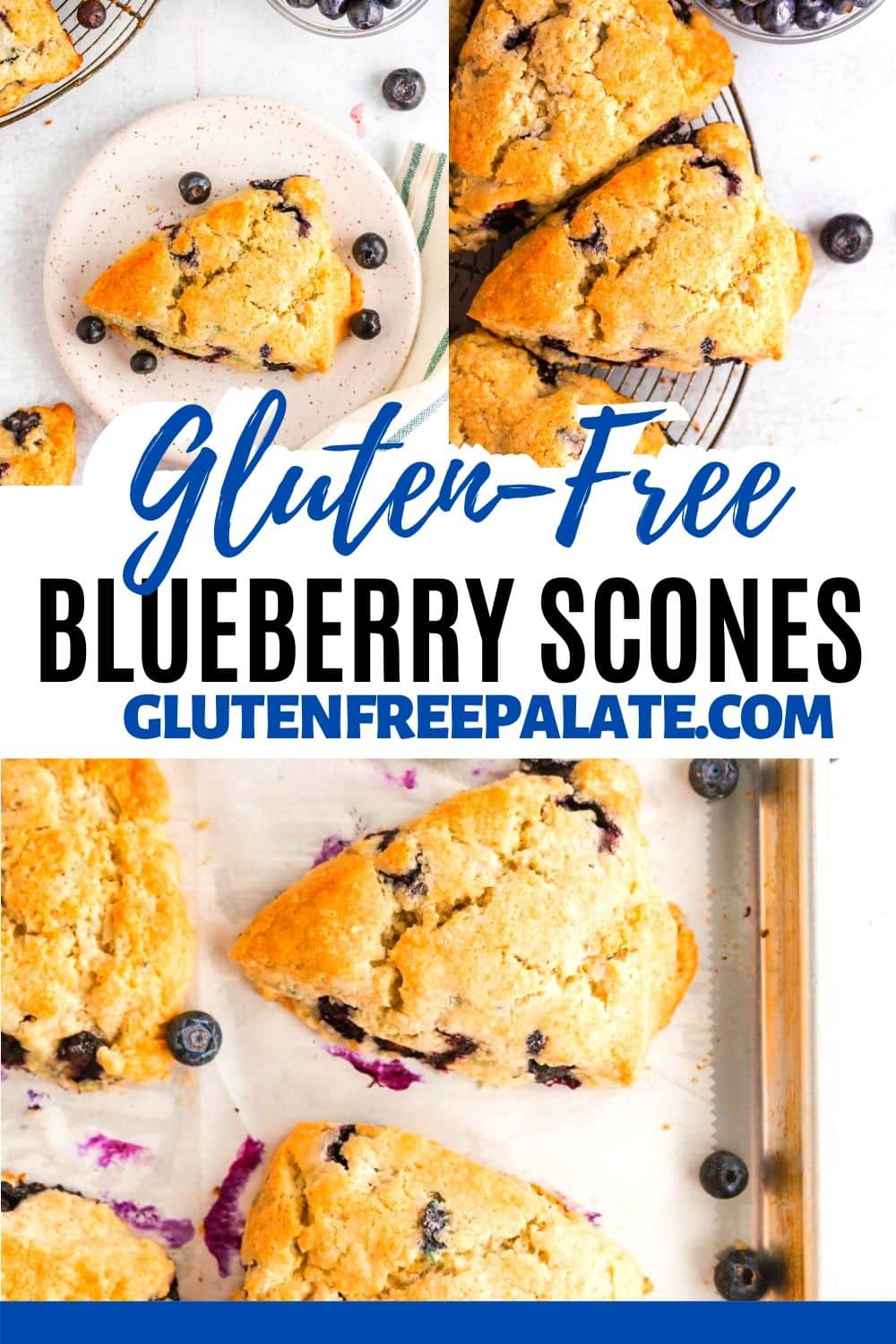 a pinterest collage with three photos of blueberry scones with the words gluten free blueberry scones in the center