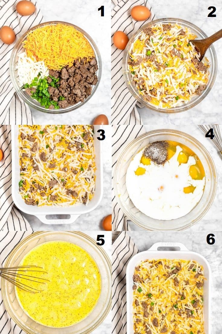 a collage of six photos showing the steps how to make a gluten free breakfast casserole