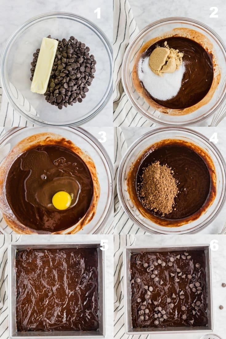 a collage of six photos showing how to make flourless brownies
