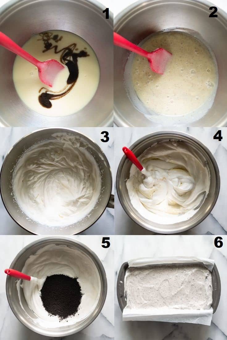 a collage of six photos showing the steps how to make gluten free ice cream