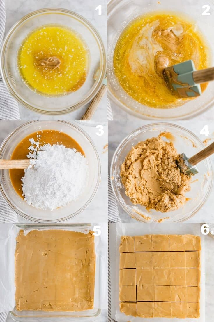 a collage of six photos showing how to make peanut butter fudge