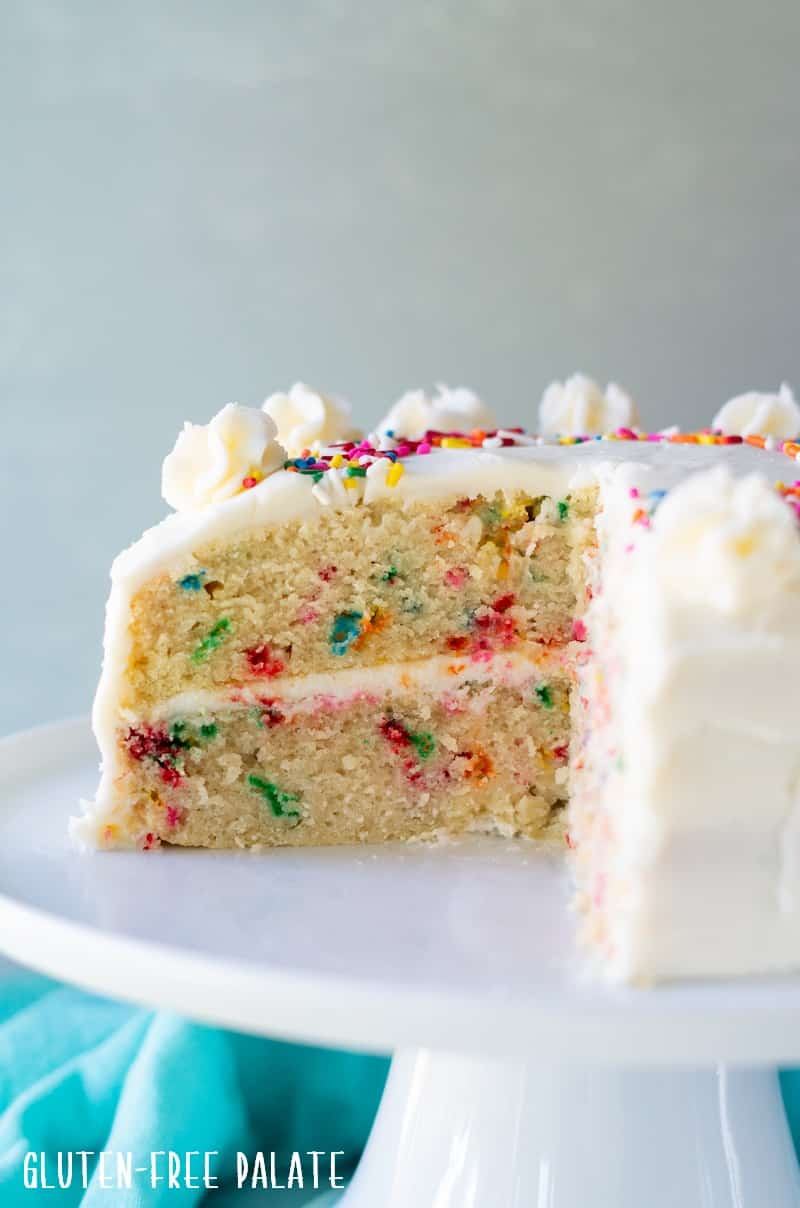 side view of the inside of a gluten free funfetti cake