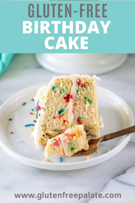 pinterest pin of gluten free birthday cake
