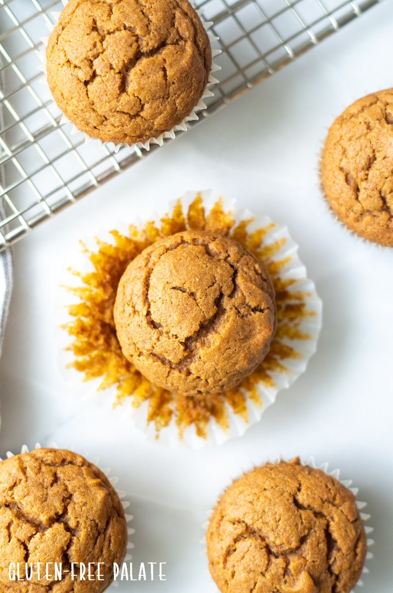 top down view of a gluten free pumpkin muffin