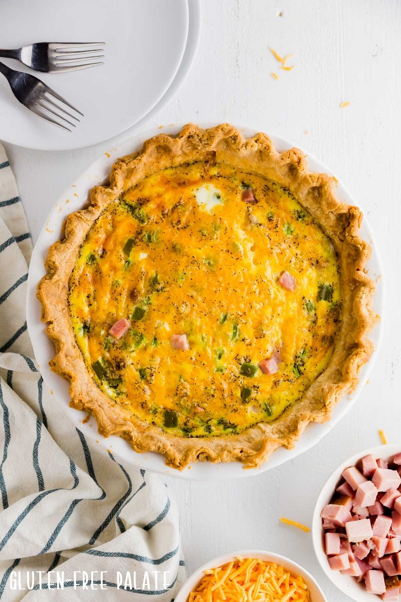 gluten free quiche in a white pie pan