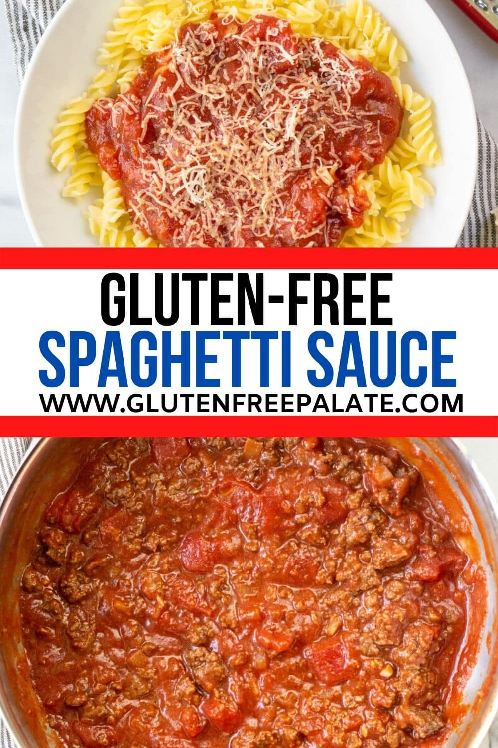pinterest pin collage of two photos of spaghetti sauce with the words gluten free spaghetti sauce in text in the center