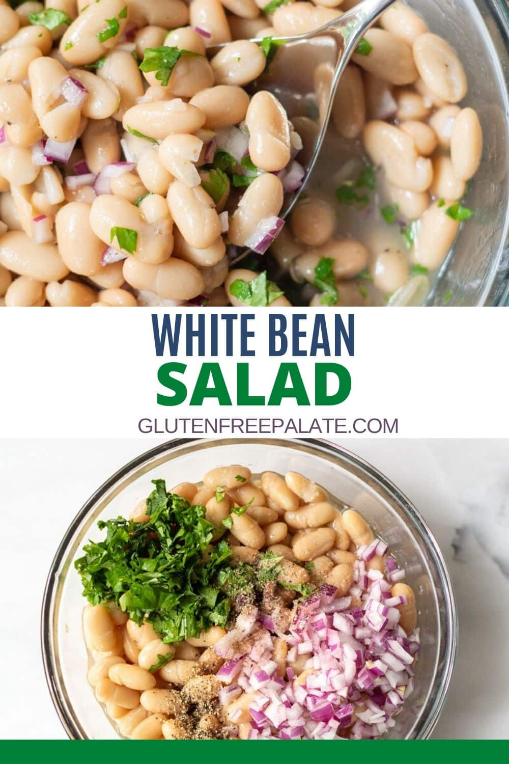 a pinterest pin collage of two photos of white bean salad