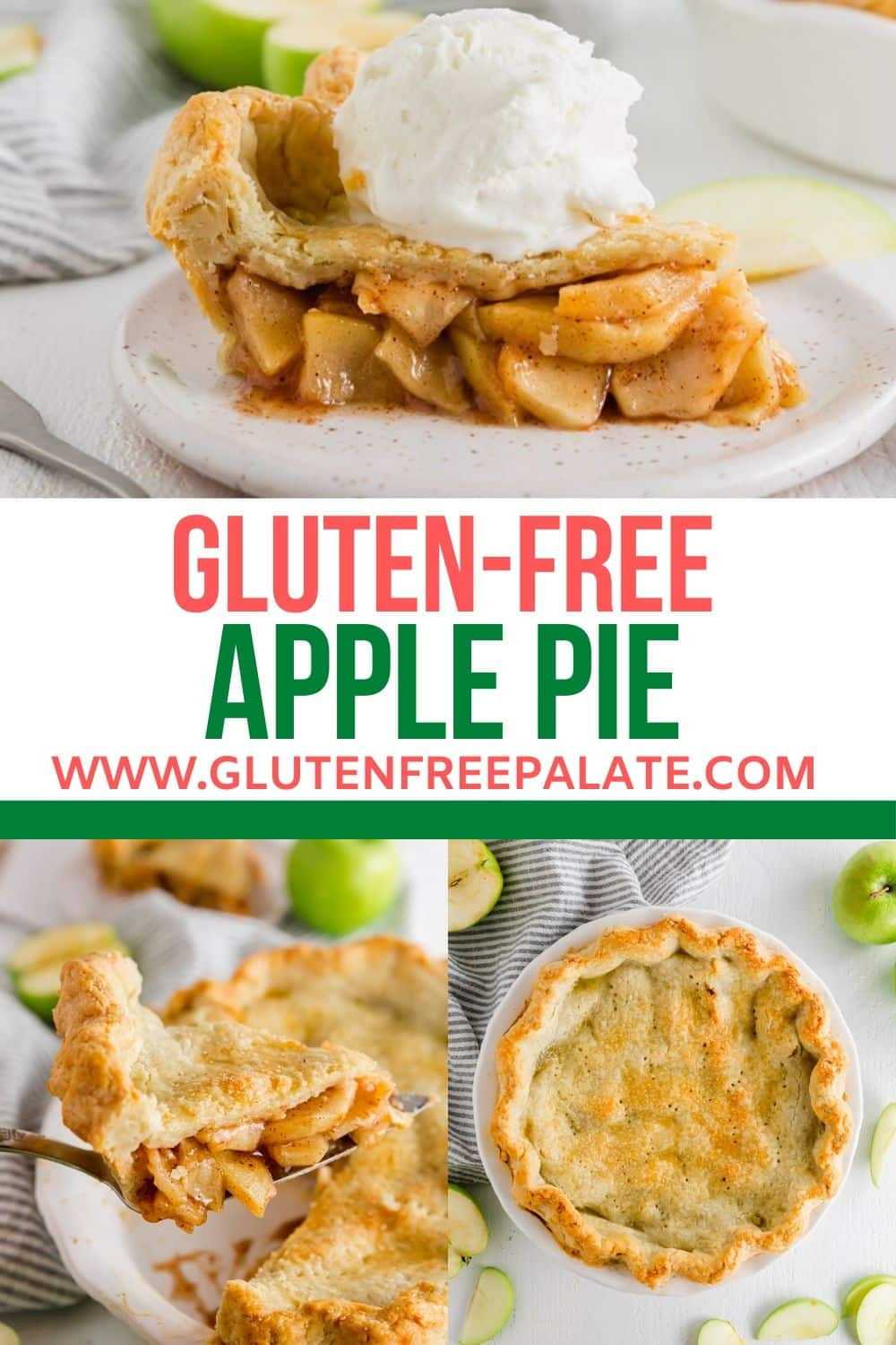 pinterest pin collage of two photos of gluten free apple pie