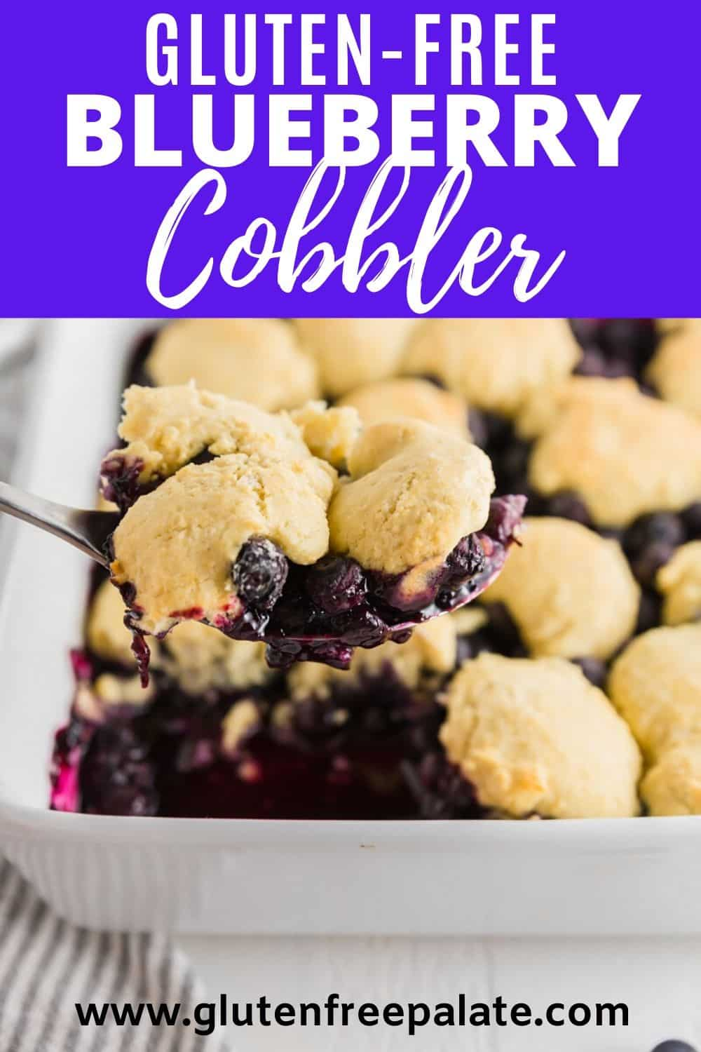 pinterest pin for gluten free blueberry cobbler