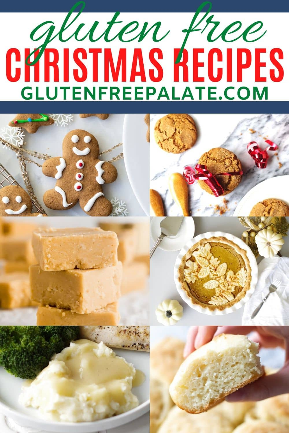 a pinterest pin collage for gluten free christmas recipes
