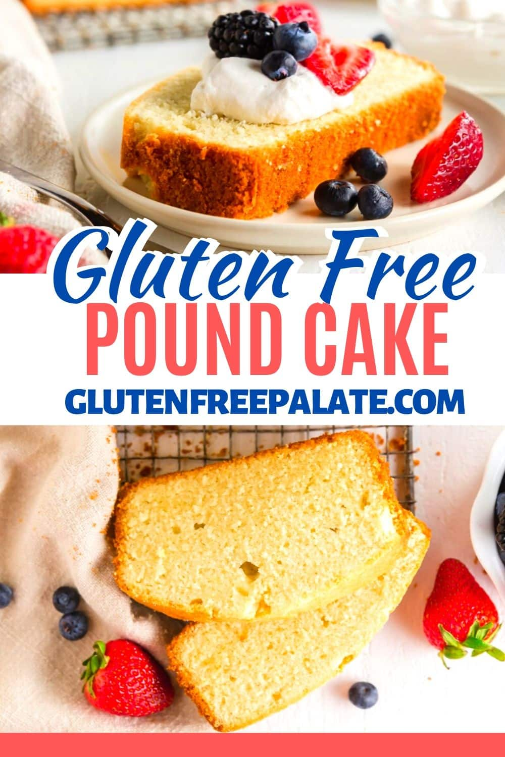 a pinterest pin collage for gluten free pound cake