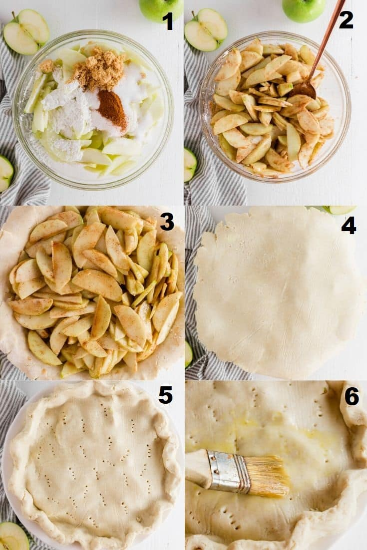 a collage of six photos showing the steps for how to make gluten free apple pie