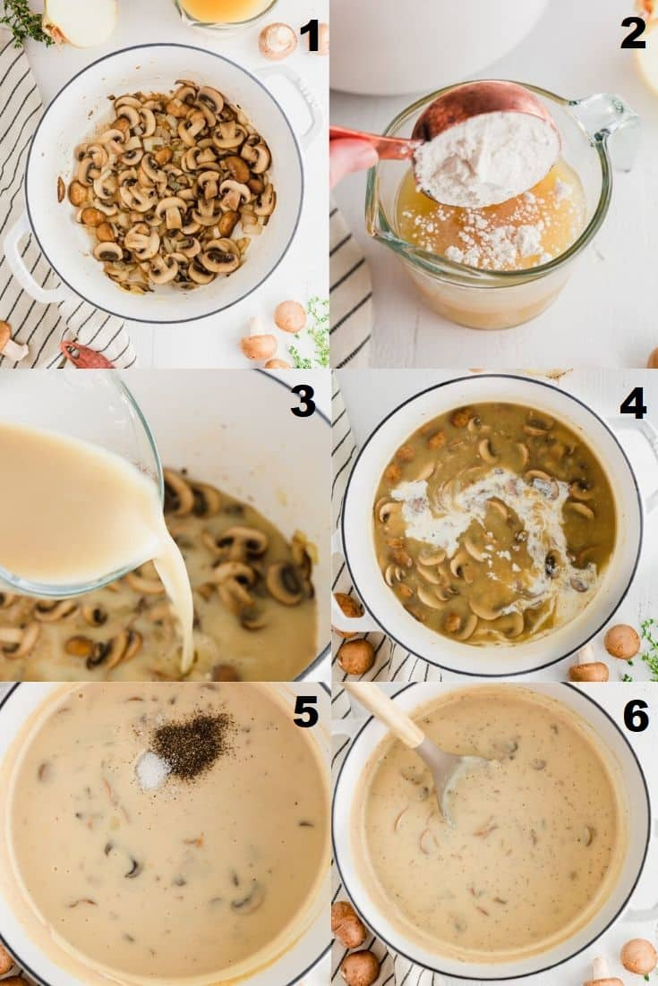 a collage of six photos showing how to make gluten free cream of mushroom soups