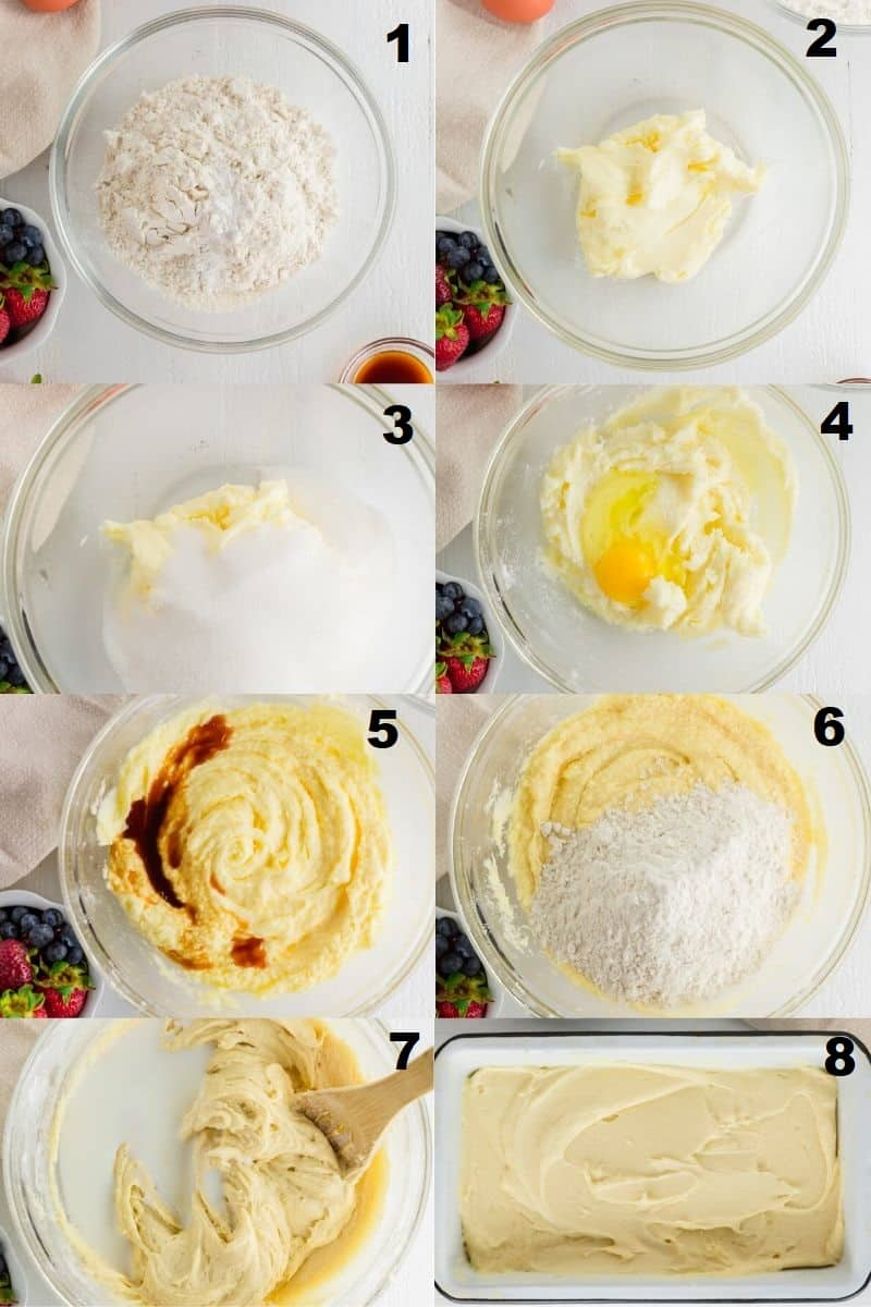 a collage of eight photos showing the steps how to make gluten free pound cake