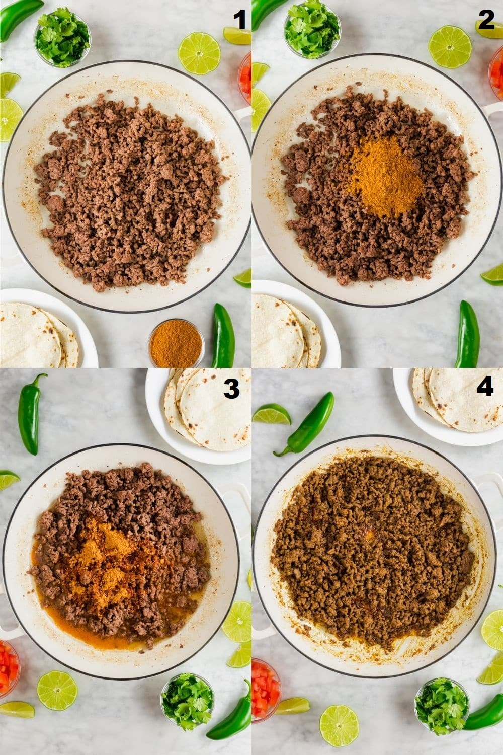 a collage of four photos showing the steps to make gluten free taco meat