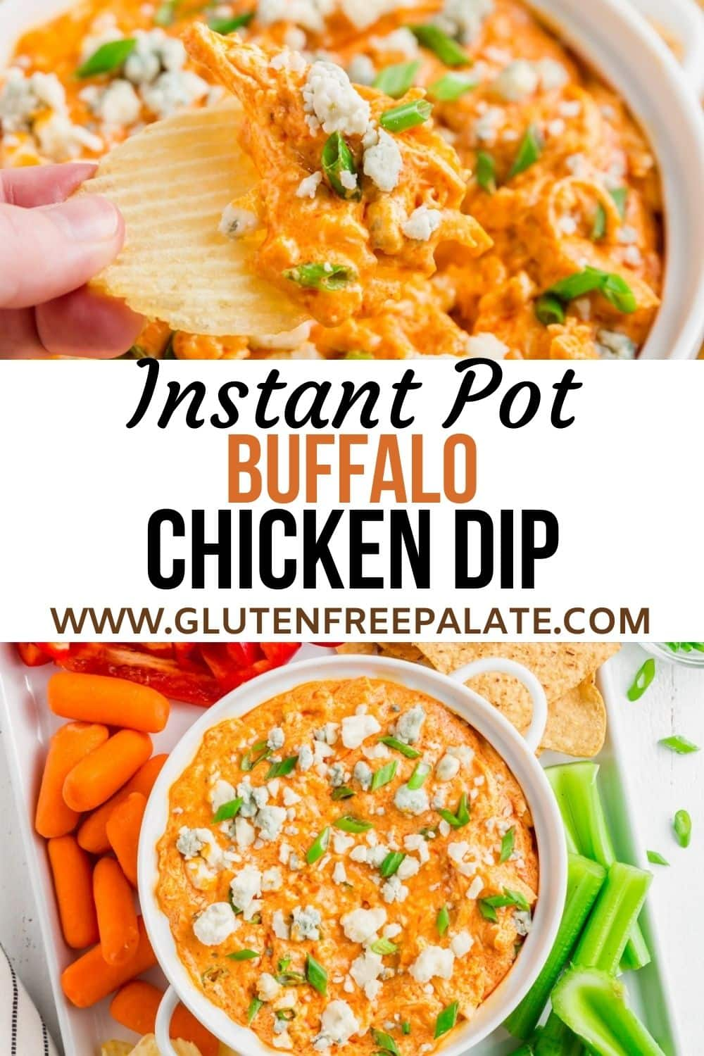 pinterest pin collage for instant pot buffalo chicken dip
