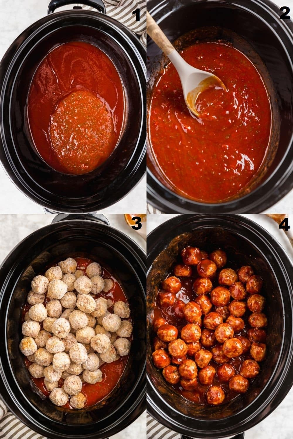 a collage of four photos showing the steps to make crockpot bbq meatballs